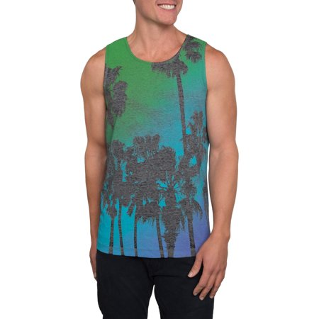 Tropical Nights Mens Burnout Graphic Tank Top