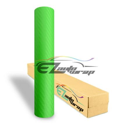 EZAUTOWRAP 3D Green Carbon Fiber Textured Car Vinyl Wrap Sticker Decal Film Sheet Decoration