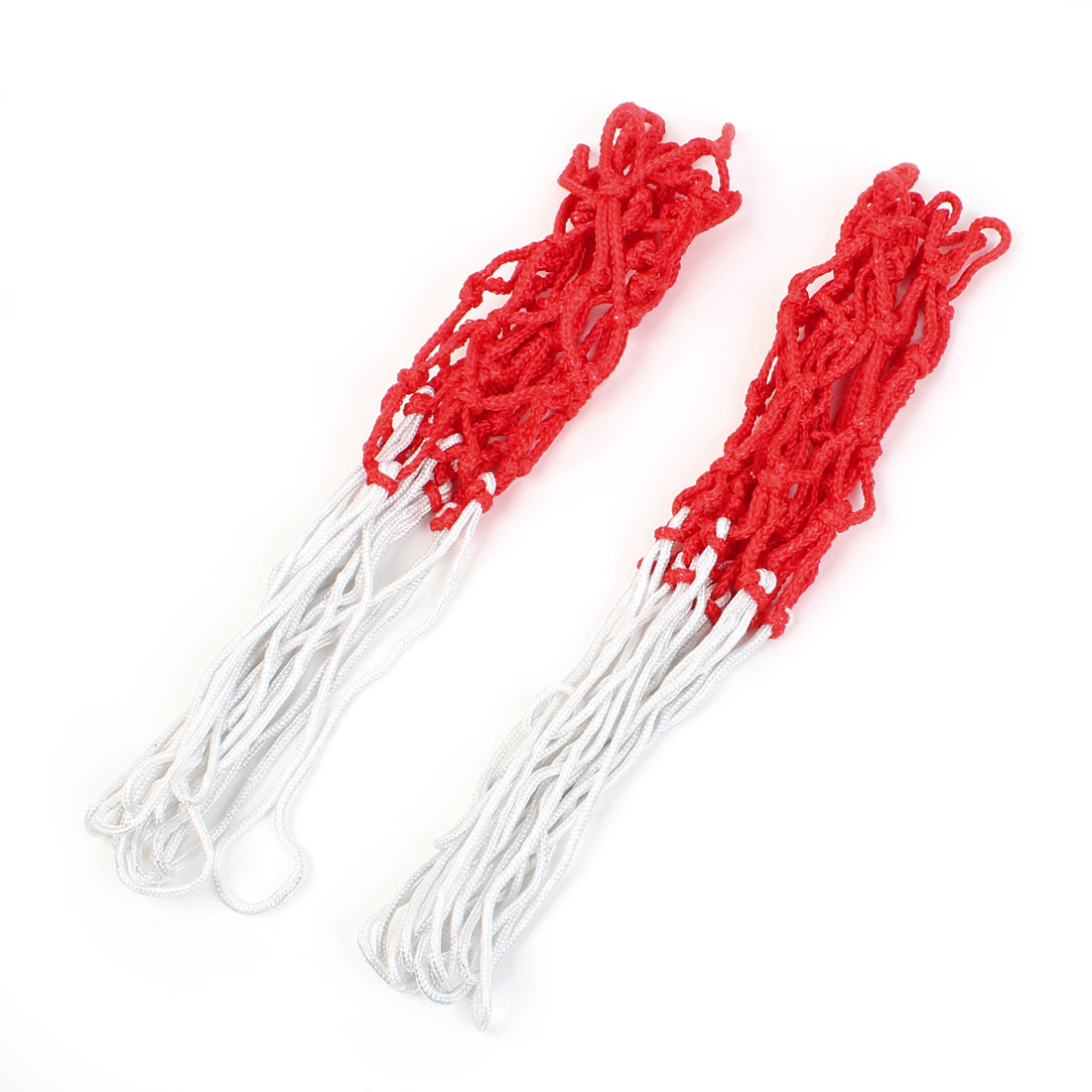 Unique Bargains 2 Pcs 16  Long Durable Nylon Knotted Basketball Nets White Red 12 Loops