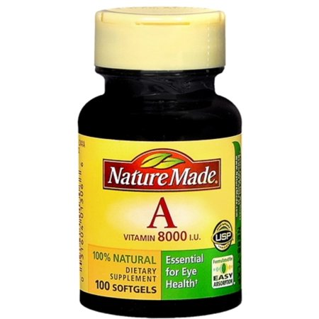 Nature Made Vitamin A 8000 I.U. Softgels 100 Soft Gels (Pack of 2)