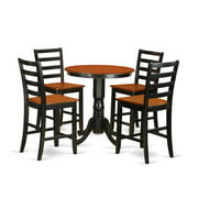 East West Furniture EDFA5-BLK-W Counter Height Dining Pub Table & 4 Dinette Chairs, Black Finish