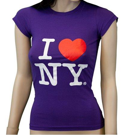 I Love NY New York Womens T-Shirt Spandex Tee Heart Purple Medium