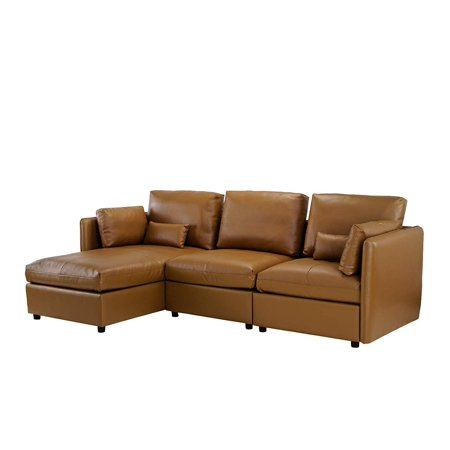L-Shape Living Room Leather Match Sectional Sofa, Left Facing Chaise Lounge  (Light Brown)