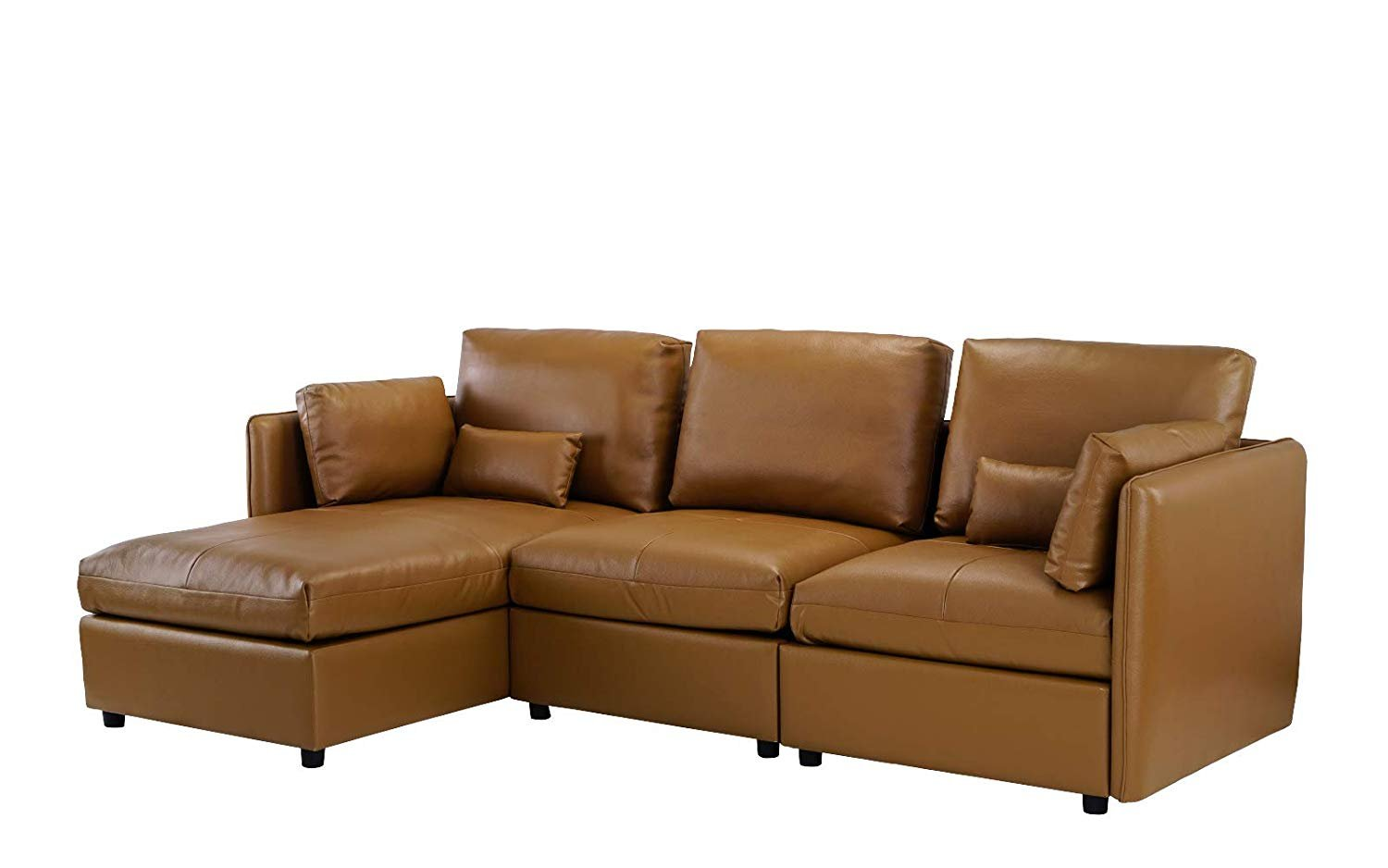 L Shape Living Room Leather Match Sectional Sofa, Left Facing Chaise Lounge  (Light Brown)