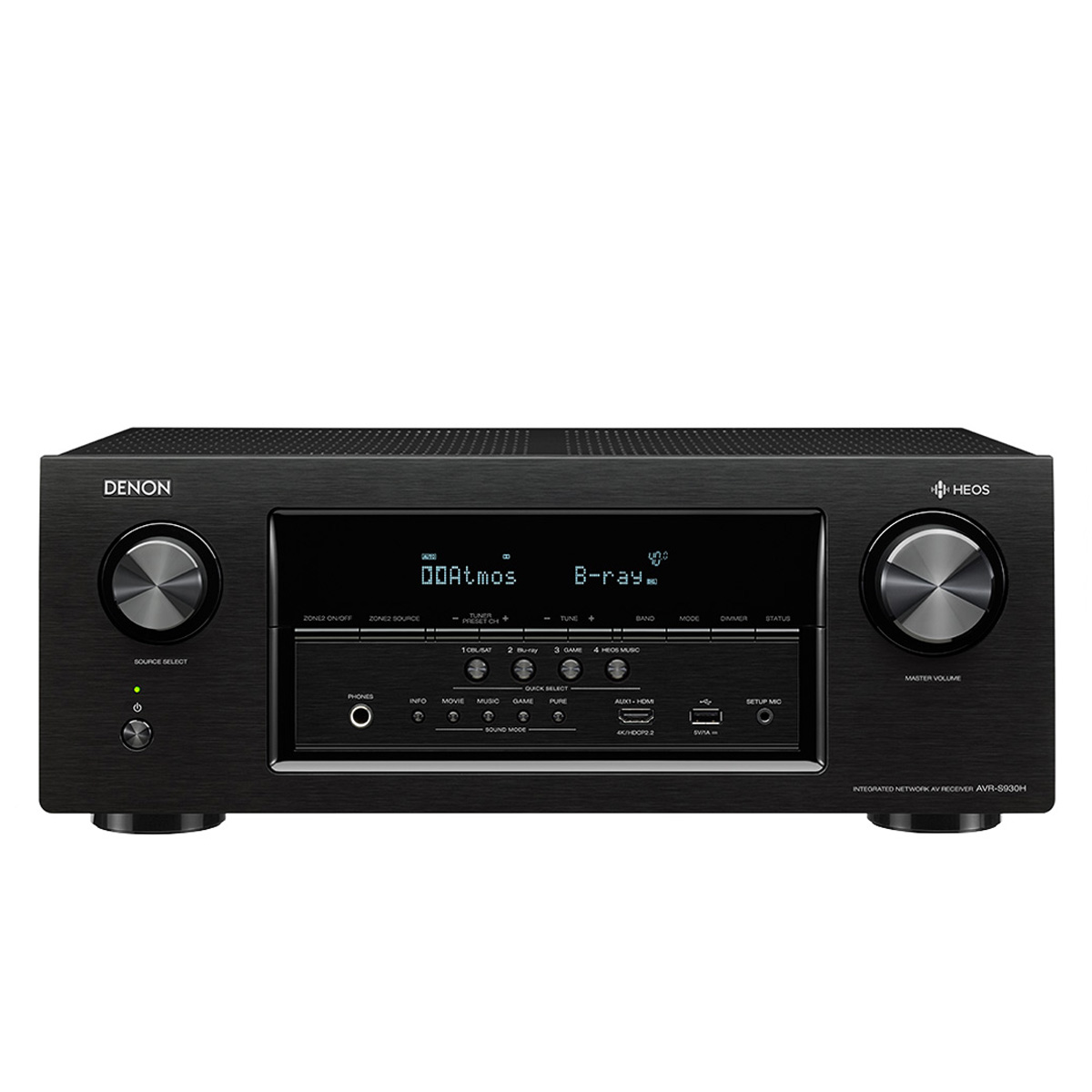 Denon AVRS930H 1295W 7.2-Ch. Hi-Res With HEOS 4K Ultra HD A/V Home Theater Receiver Black