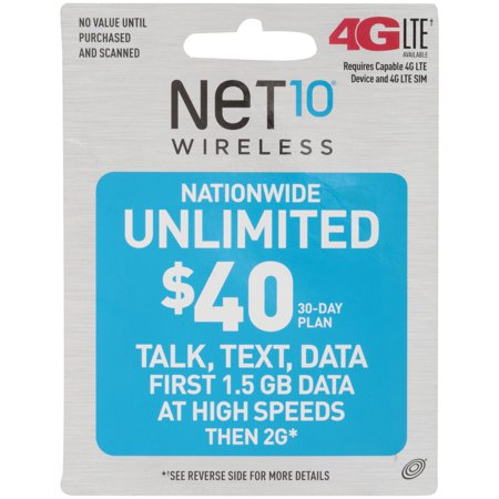 Net10® Wireless Nationwide Unlimited $40 30-Day Pre-Paid Phone Card (Phone Cards Set)
