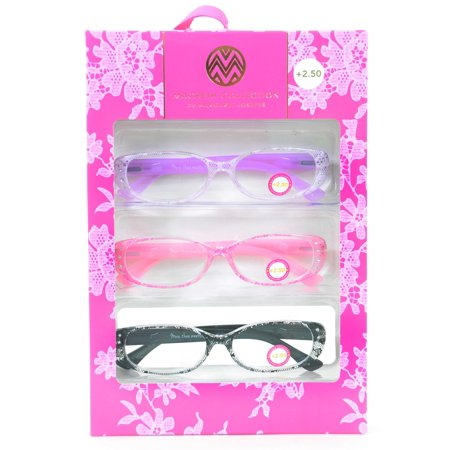 2.50 Readers - Macbeth Collection 3 Pairs Reading Glasses Lace Print Readers +2.50 -