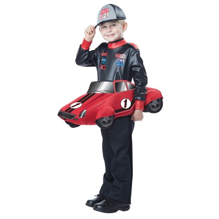 Nascar Racer On 3D Race Car Toddler Halloween Costume-M/L (3-6) - Nascar Driver Halloween
