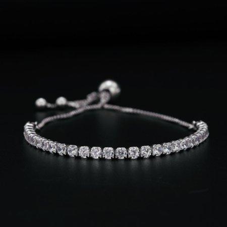 Four Prong Set 2 Carat Round Cut Diamond Bolo Bracelet in 18k Gold Over Silver 2 Carat Fine Prong