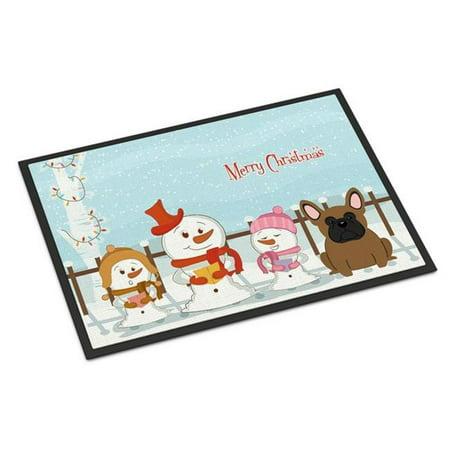 Carolines Treasures BB2344MAT Merry Christmas Carolers French Bulldog Brown Indoor or Outdoor Mat, 18 x 0.25 x 27 in. - image 1 de 1
