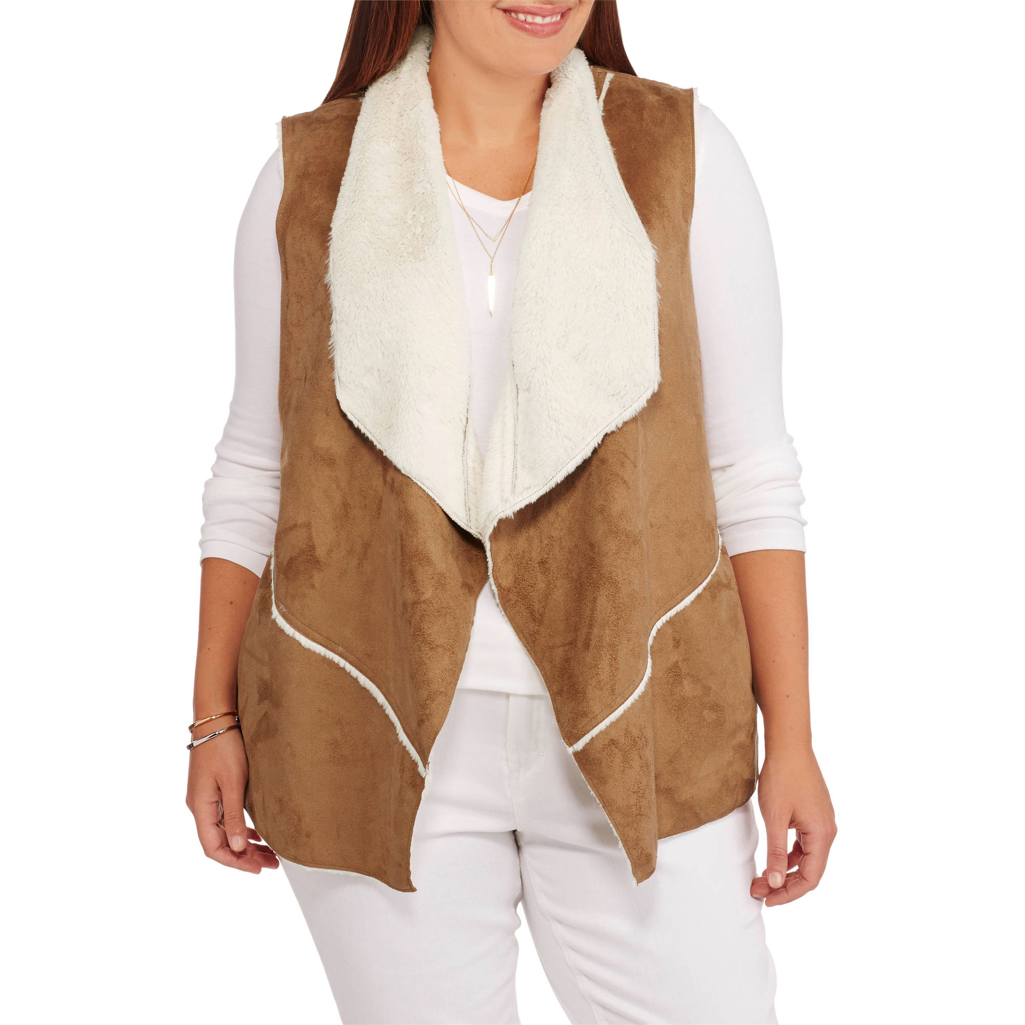 Maxwell Studio Women's Plus-Size Faux Sheepskin Flyaway Vest