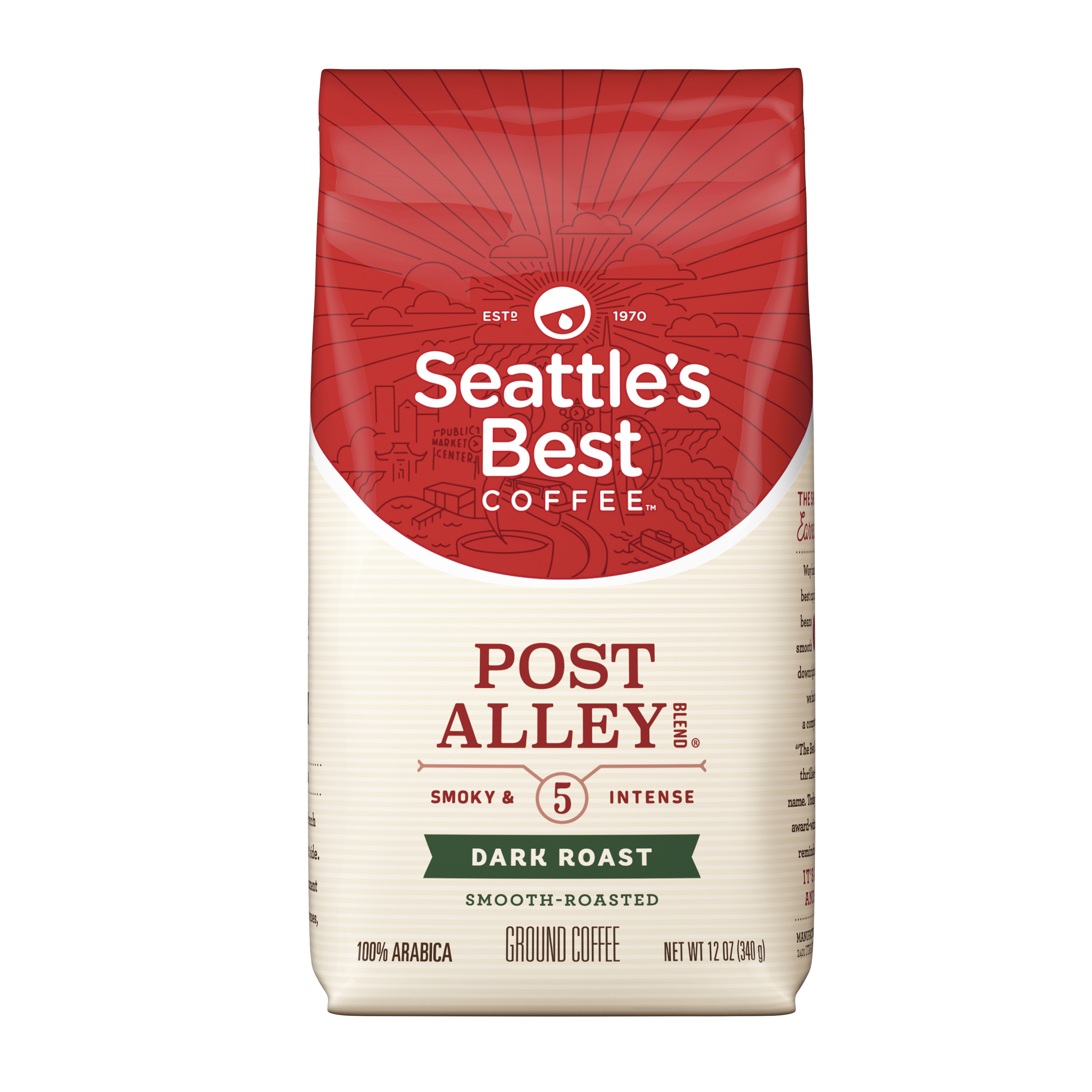 Seattle's Best Coffee Post Alley Blend (Previously Signature Blend No. 5) Dark Roast Ground Coffee, 12-Ounce Bag