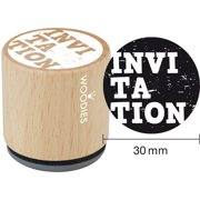 """Woodies Mounted Rubber Stamp 1.35""""-Invitation"""