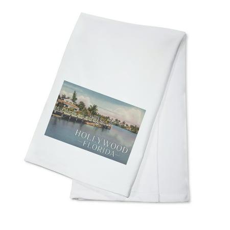 Hollywood, Florida - Dock and Marina - Vintage Postcard (100% Cotton Kitchen Towel) - Florida Vintage Linen