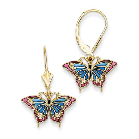 14kt Yellow Gold Butterfly Blue Stained Glass Leverback Earrings Lever Back Drop Dangle Animal Fine Jewelry Ideal Gifts For Women Gift Set From Heart