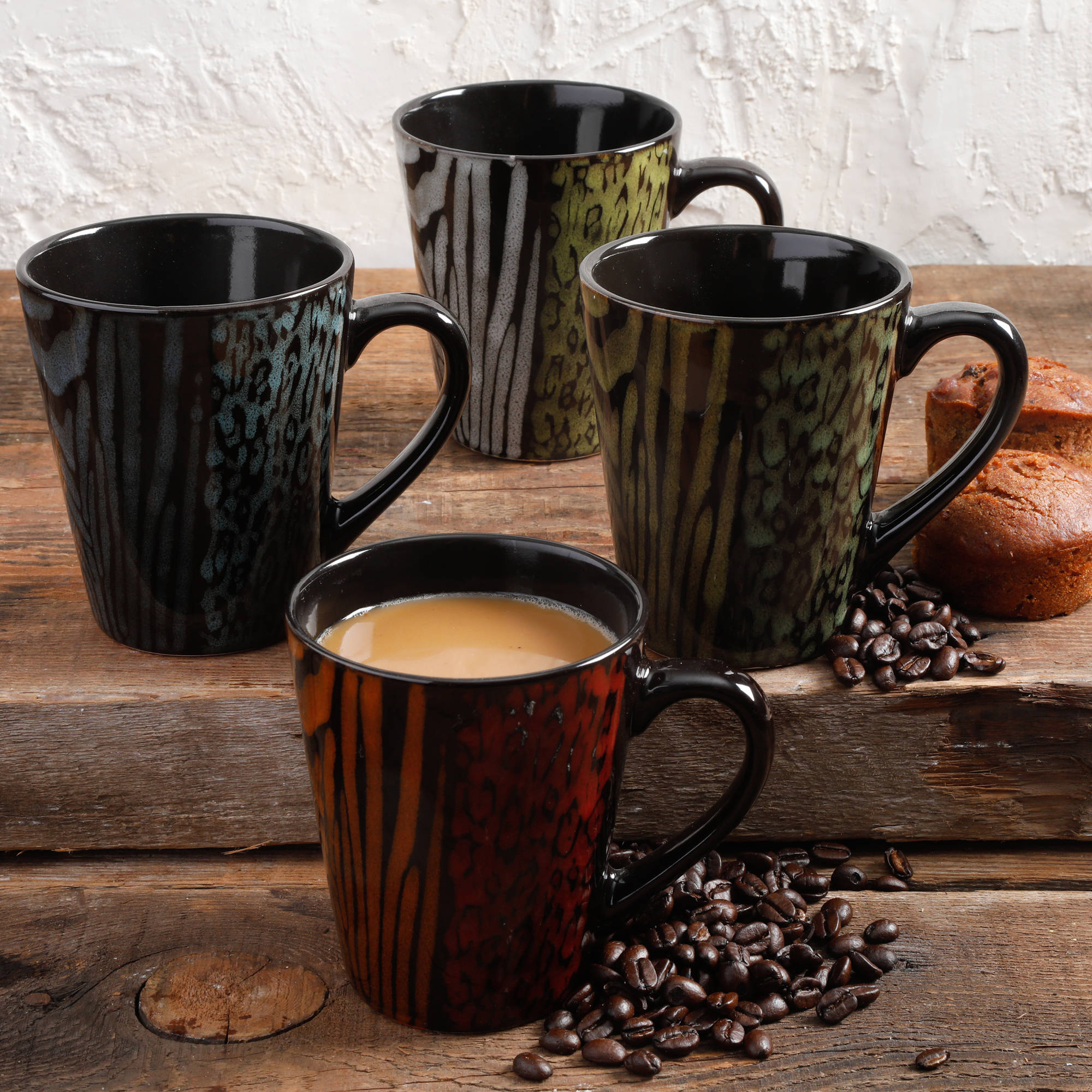 Gibson Home Cafe Safari 14 oz Assorted Design Mugs, Set Of 4