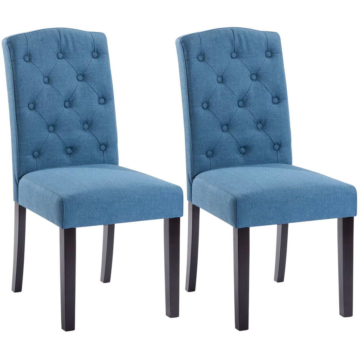 Costway Set of 2 Linen Fabric Wood Accent Dining Chair Tufted Modern Living Room Blue