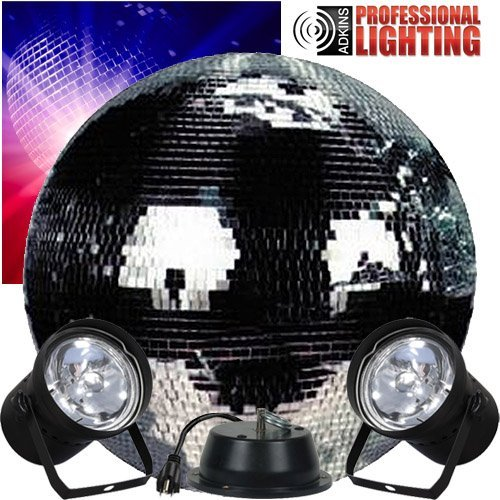 "Disco Ball 20"" Mirror Ball Complete Party Kit with 2 Pinspots and Motor by Adkins Pro Audio & Lighting"