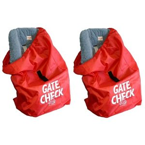 JL Childress Gate Check Bag for Car Seats, Red 2-Pack