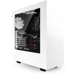 NZXT Case CA-S340W-W1 S340 ATX Mid-Tower No Power Supply 0 0 (3) Bay USB White No LED White Interior windows by HPP