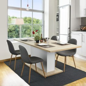 CLEARANCE! Modern Dining Chairs Gray, SOFT INC Linen Cushion and Backrest,  Mid Century Dining Chair Legs w/Iron Tube & Anti-Slip Mat, for Restaurants,  ...