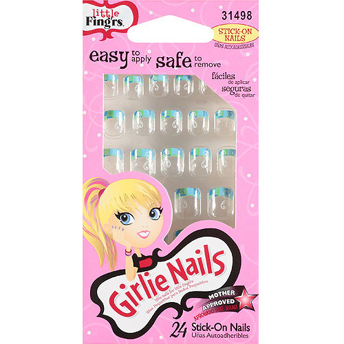 Little Fing'rs Girlie Nails Stick On Nails, 24 count