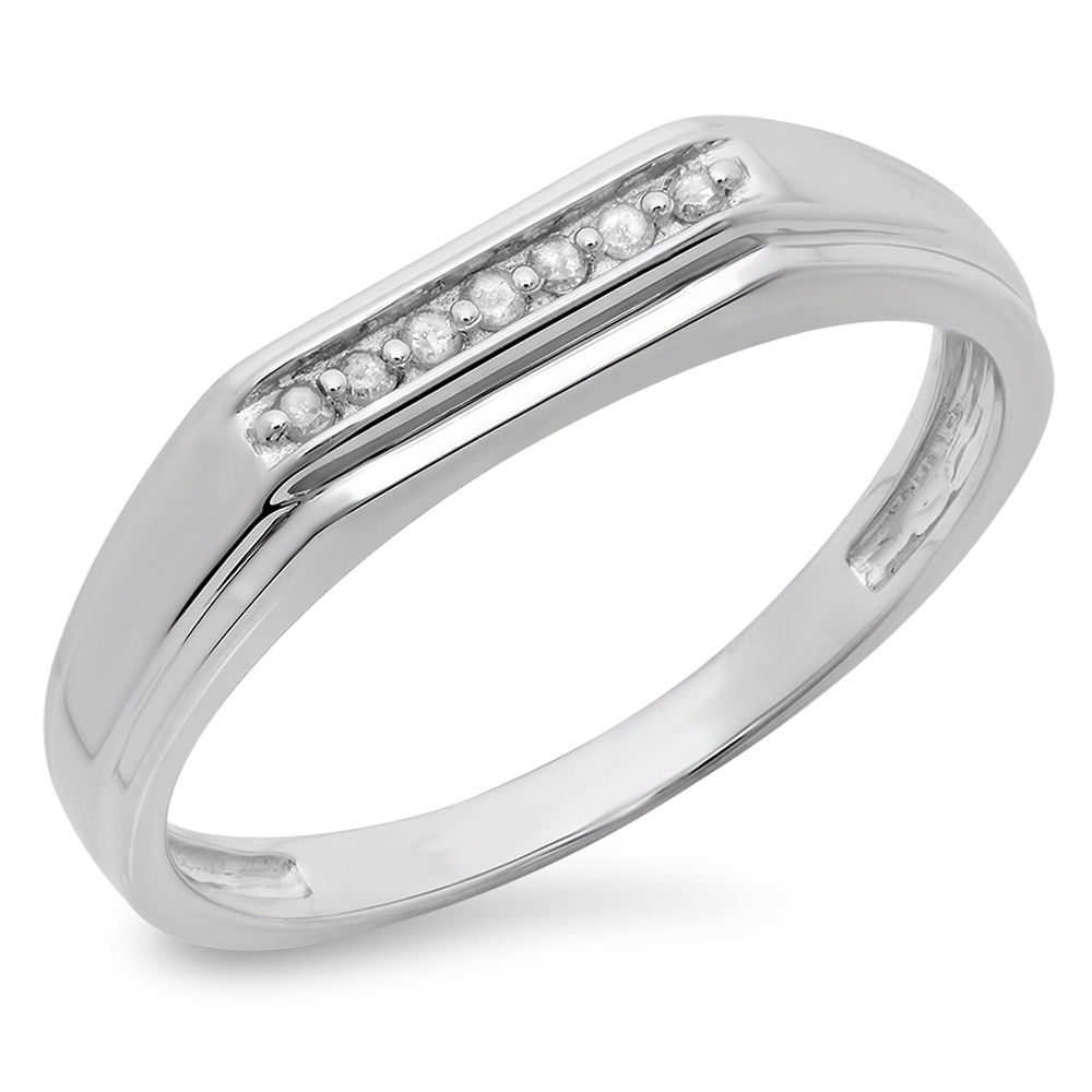 Elora Sterling Silver Men's 1/10ct TDW Diamond 7-stone Stackable Anniversary Band (I-J, I2-I3)