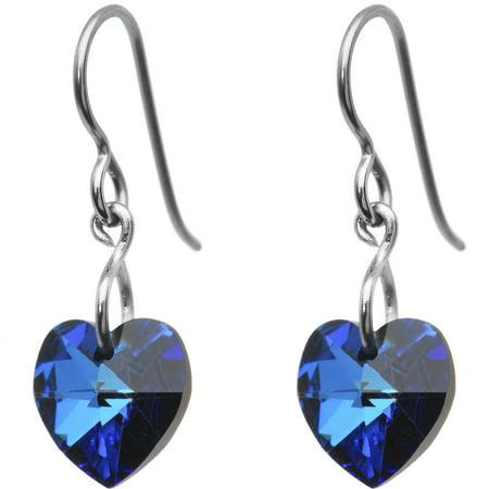 Heart Titanium Earrings - Solid Titanium Green Heart  Earrings Created with Swarovski Crystals
