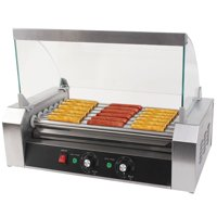 Hot Dog Grill Cooker Machine with cover for 18 Hotdog 7 Roller