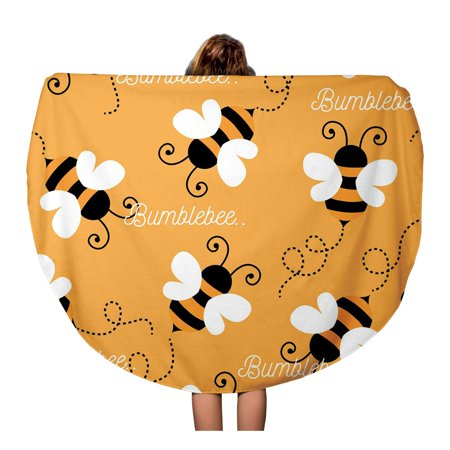 LADDKA 60 inch Round Beach Towel Blanket Yellow Honey Bee Pattern Abstract Baby Beautiful Bug Buzz Travel Circle Circular Towels Mat Tapestry Beach Throw Buzz Lightyear Towel