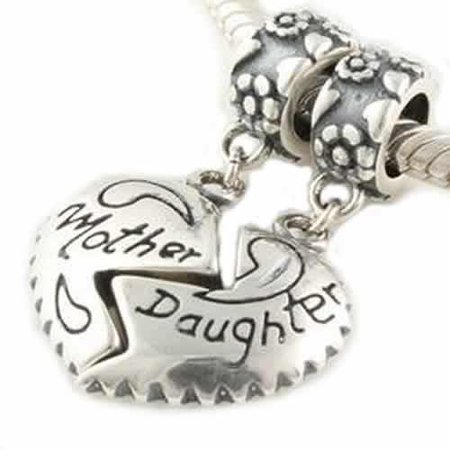 1 Pair Mother Daughter Hearts Love Charm Fits Snake Chains Brand Charm