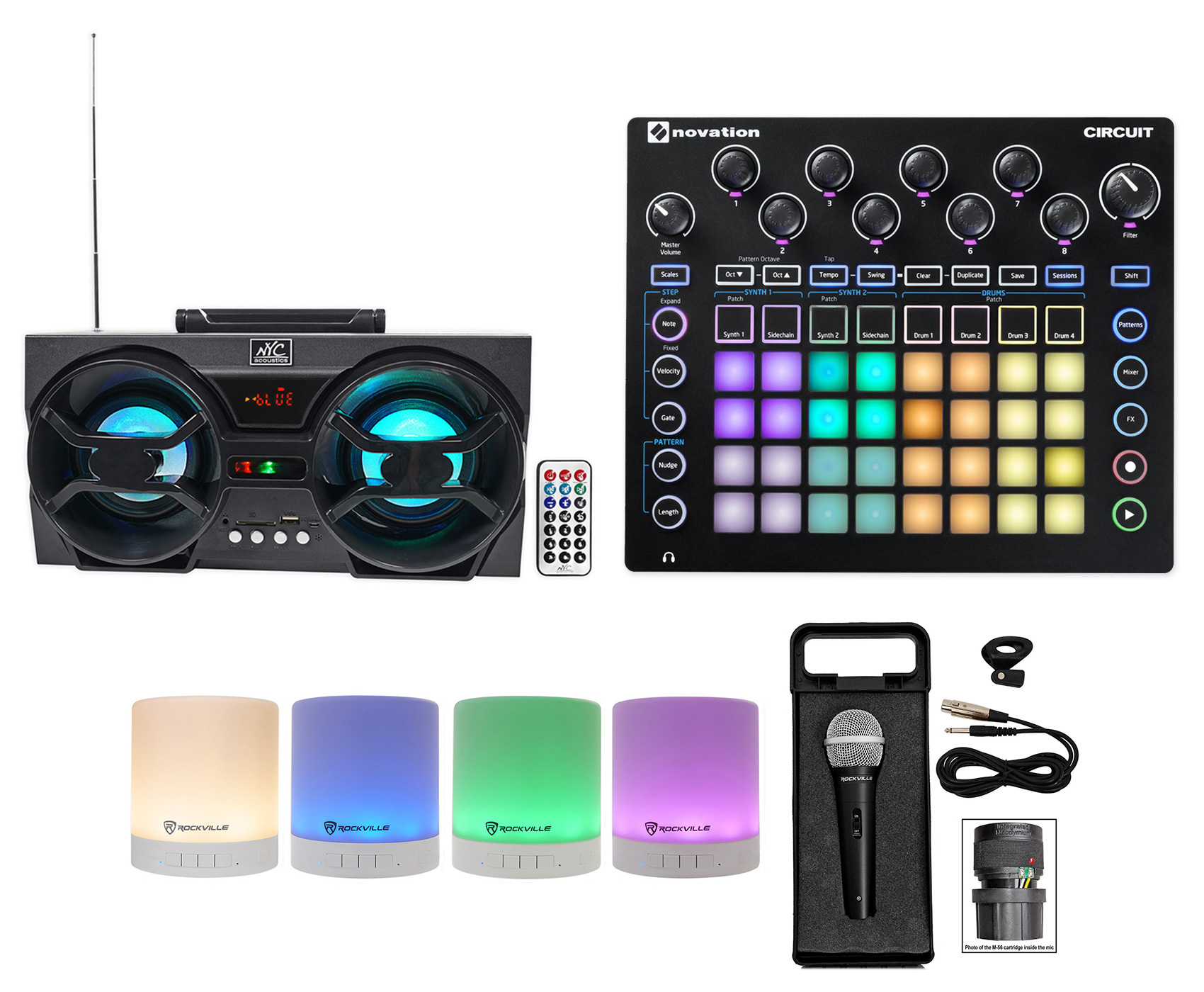 Novation CIRCUIT Groove Box Music Controller Pad Drum Machine+2) Speakers+Mic by NOVATION