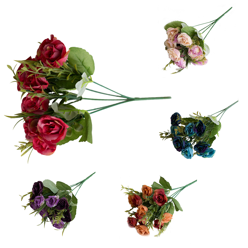 Girl12Queen 10 Heads Artificial Fake Rose Begonia Flower Wedding Banquet Party Home Decor