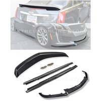 Replacement For 2016-Present Cadillac CTS-V | EOS Carbon Package Style CARBON FIBER Front Bumper Lower Lip Splitter With Side Skirts Rocker Panel Extensions & Rear Wing Spoiler Combo Body Kit