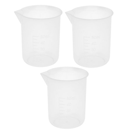 3 Pcs 50mL Clear Plastic Graduated Measuring Beaker Cup for Lab