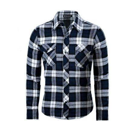 Men Buttoned Plaids Flannel Shirt w Flap (Teal Plaid Flannel)