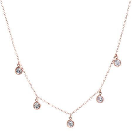 Fine Rose Gold Plate Over Sterling Silver 4MM Round CZ Station (Tiffany Rose Necklace)