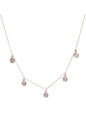 "Marisol & Poppy 14kt Rose Gold Plate Over Fine Sterling Silver 4MM Round Cubic Zirconia Station Necklace 16 + 2"" Extender"