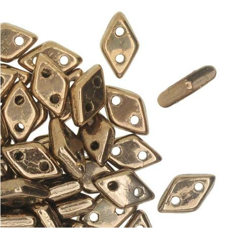 CzechMates Glass, 2-Hole Diamond Beads 4x6mm, 8 Grams, Bronze