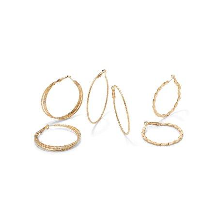 3 Pair Hoop Set (3 Pair Hoop Earrings Set in Yellow Gold Tone (2 1/3