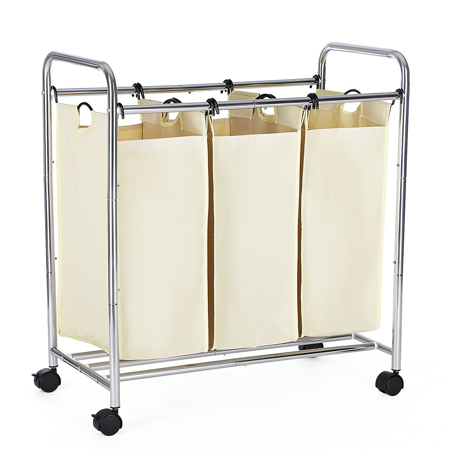 laundry sorter with 3 removable bags and wheels