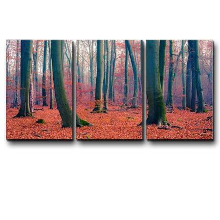 wall26 - Three Piece Canvas - Tree Forest During Fall Time with Orange Leaves on The Ground on 3 Panels - Canvas Art Home Decor - 16x24 (Fall Forest Leaves)