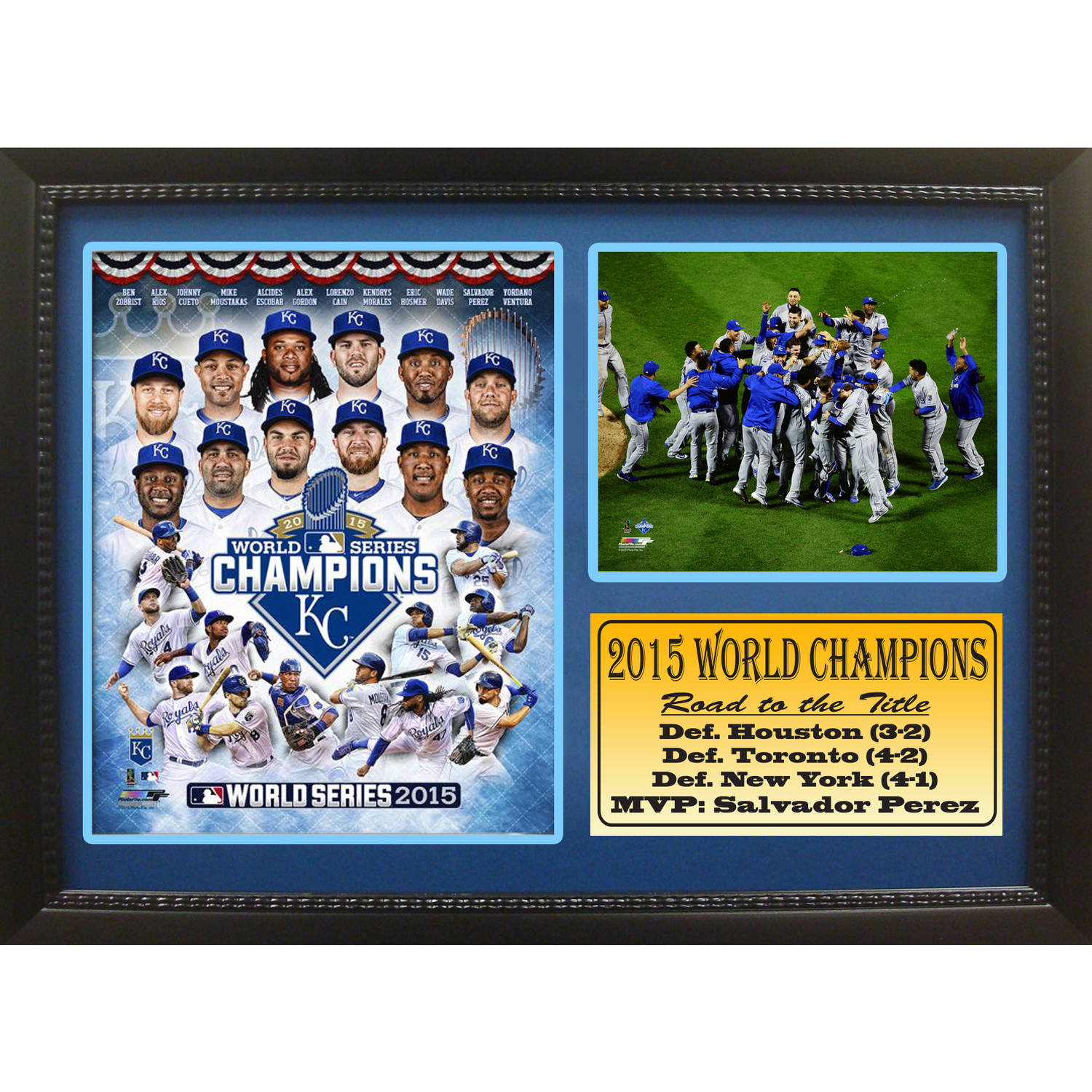 "12"" x 18"" Photo Stat Frame, Kansas City Royals 2015 World Champions"