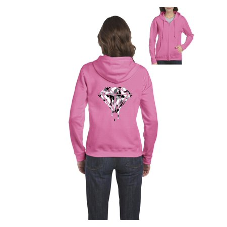 Diamond Camouflage Melting Bleeding Dripping Women Full-Zip Hooded Sweatshirt (Purple And Pink Camo Hoodie)