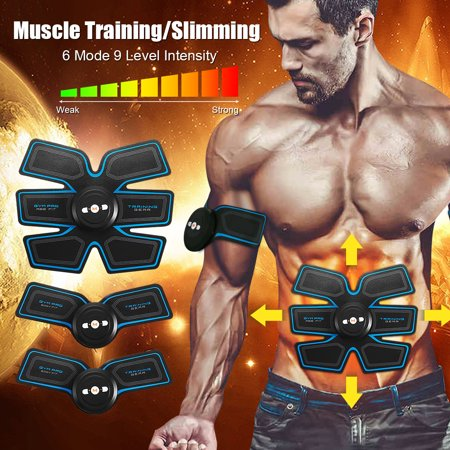 USB Rechargeable ABS Stimulator, Muscle Training Gear Abdominal Trainer Body Home Exercise...