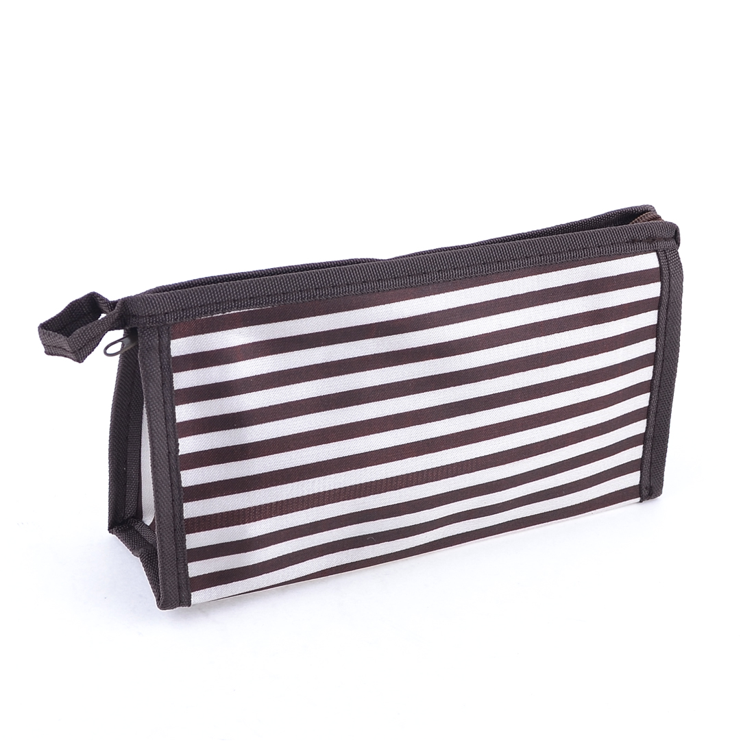 Brown White Travel Striped Pattern Makeup Cosmetic Bag Pouch for Women