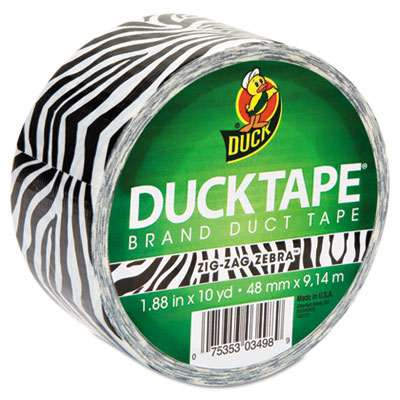 "Colored Duct Tape, 9 mil, 1.88"" x 10 yds, 3"" Core, Zebra, Sold as 1 Roll"
