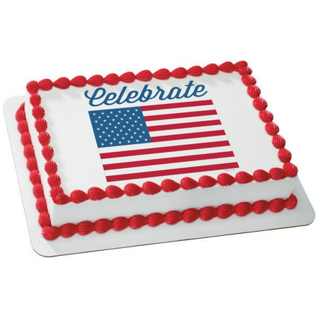Celebrate America Flag Edible Cake Topper Image