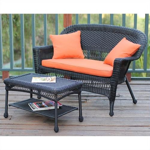 Jeco Wicker Patio Love Seat and Coffee Table Set in Black with Orange Cushion