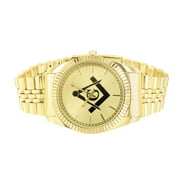 Freemason Watch 14k Gold Tone Presidential Link Stainless Steel Back Mens 50 MM